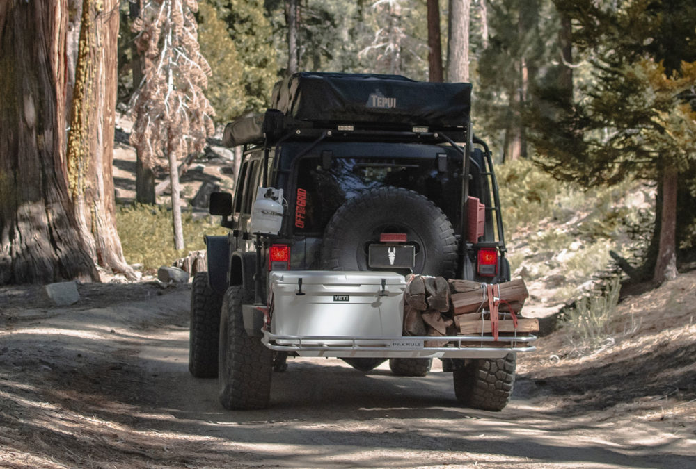 Pakmule sway-back hitch backet for jeeps